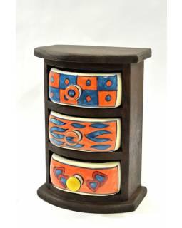 Skříňka, 3 keramické šuplíčky, dřevěná, 15x10x22cm