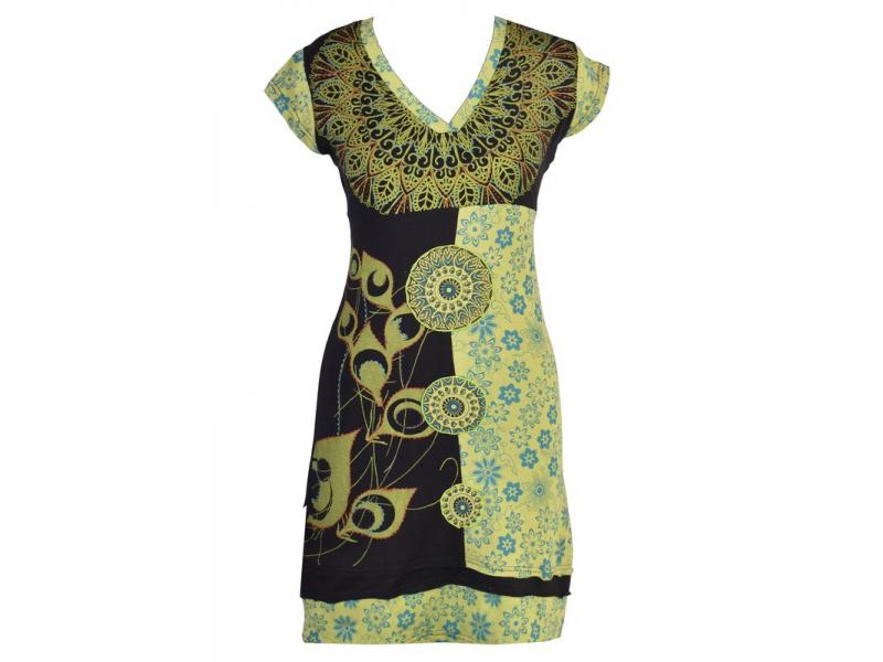 Krátké černo-zelené šaty s krátkým rukávem, mix tisků a výšivka