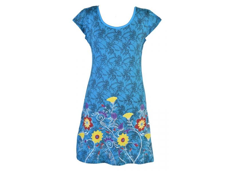 Tyrkysové šaty s potiskem krajky a krátkým rukávem