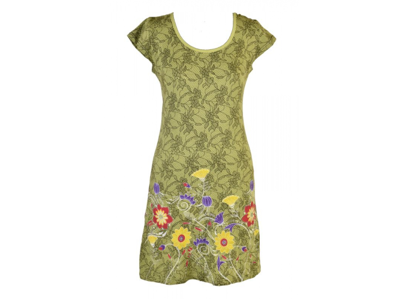 Zelené šaty s potiskem krajky a krátkým rukávem