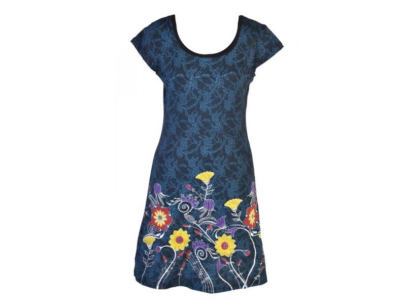 Černo-modré šaty s potiskem krajky a krátkým rukávem