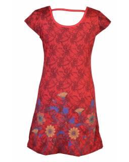 Červené šaty s potiskem krajky a krátkým rukávem