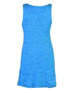 Tyrkysové šaty bez rukávu, potisk mandaly a barevná výšivka