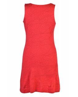 Červené šaty bez rukávu, potisk mandaly a barevná výšivka