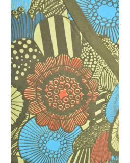 Khaki šaty bez rukávu s květinovým potiskem, šňůrka