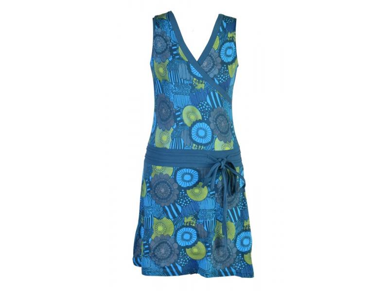 Petrolejové šaty bez rukávu s květinovým potiskem, šňůrka