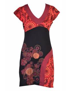 Černo-červené šaty s krátkým rukávem a potiskem mandal, výšivka