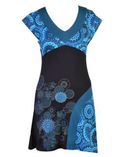 Černo-tyrkysové šaty s krátkým rukávem a potiskem mandal, výšivka