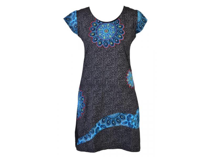Černo-modré šaty s krátkým rukávem, Peacock design, výšivka