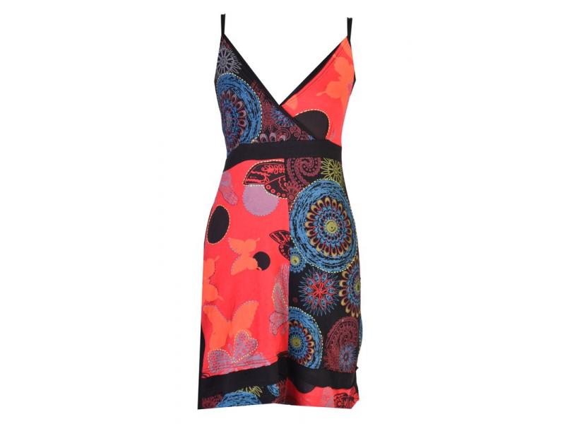 Černo-červené šaty na ramínka, barevný potisk Butterfly a výšivka