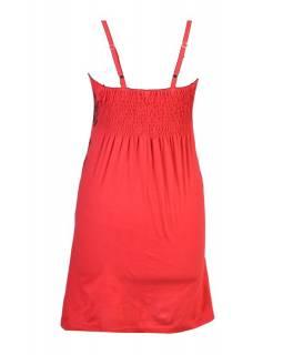 Červeno-oranžové šaty na ramínka, barevný potisk Butterfly a výšivka