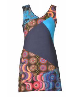 Krátké multibarevné šaty bez rukávu, mix potisků, modrá