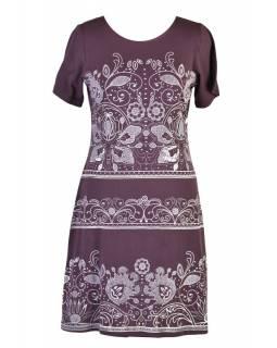 Fialové šaty s krátkým rukávem, potisk floral
