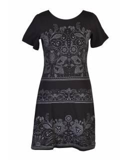 Černé šaty s krátkým rukávem, potisk floral