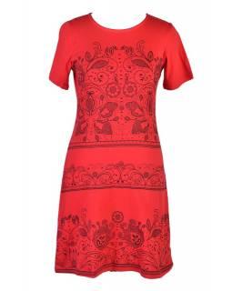 Červené šaty s krátkým rukávem, potisk floral