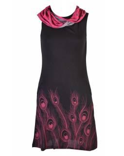 Černé šaty s límcem, bez rukávu, potisk Peacock
