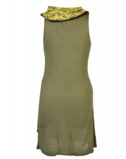 Khaki šaty s límcem, bez rukávu, potisk Peacock