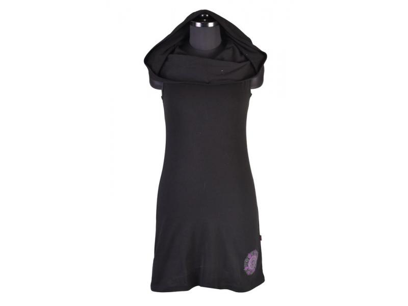Černé šaty s kapucí/límcem, bez rukávu, potisk a výšivka mandaly