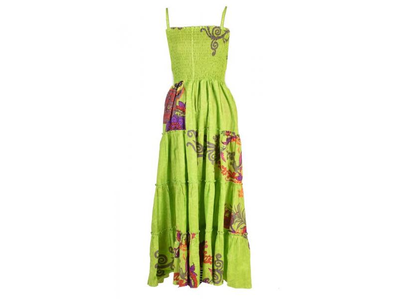"""Dlouhé zelené šaty naramínka """"Flower """" žabičkování"""