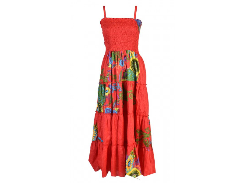 """Dlouhé červené šaty naramínka """"Flower """" žabičkování"""