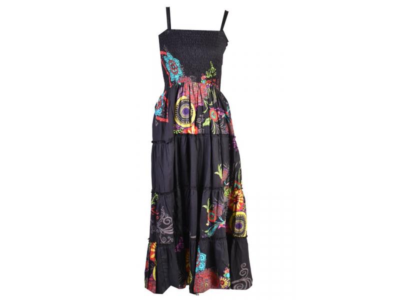 """Dlouhé černé šaty naramínka """"Flower """" žabičkování"""