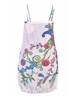 """Bílé  balonové šaty bez rukávu """"Flower design"""", kapsy"""