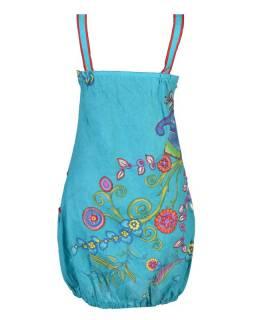 """Tyrkysové balonové šaty bez rukávu """"Flower design"""", kapsy"""
