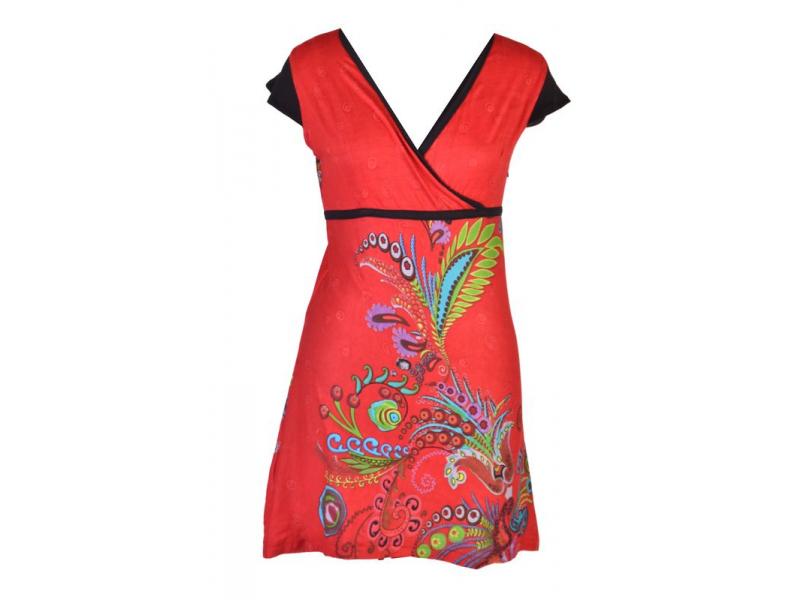 Červené šaty s krátkým rukávem a potiskem květin, šňůrka