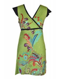 Zelené šaty s krátkým rukávem a potiskem květin, šňůrka