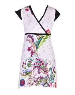 Bílé šaty s krátkým rukávem a potiskem květin, šňůrka