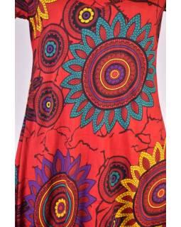 Červené balonové šaty s krátkým rukávem a potiskem flower mandala
