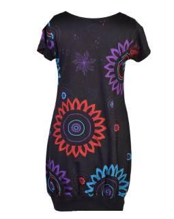 Černé balonové šaty s krátkým rukávem a potiskem flower mandala