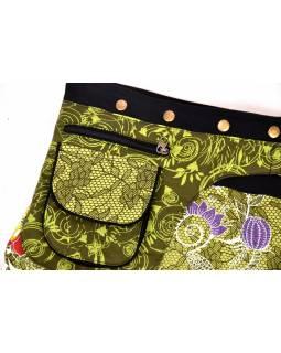 Krátká zelená sukně zapínaná na svočky, Lace design, potisk, kapsička