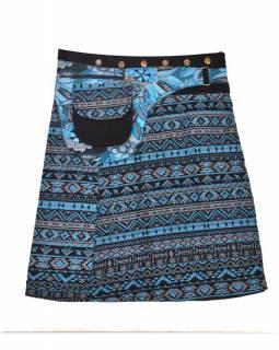 Krátká modrá sukně zapínaná na patentky, barevný potisk, kapsa
