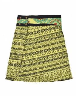 Krátká zelená sukně zapínaná na patentky, barevný potisk, kapsa