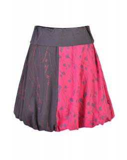 Krátká balonová sukně s potiskem mravenců, šedo-růžová, elastický pas