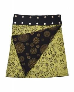 Oboustranná sukně s potiskem květin a mandal, černo-zelená, zapínání na cvoky