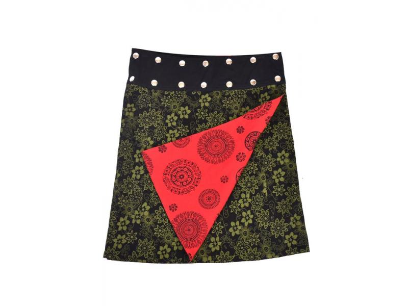 Oboustranná sukně s potiskem květin a mandal, zeleno-červená, zapínání na cvoky