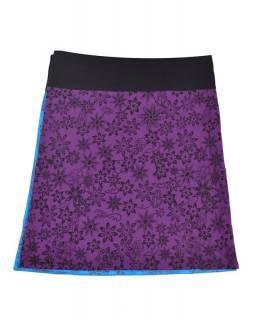 Oboustranná sukně s potiskem květin a mandal, fialovo-modrá, zapínání na cvoky