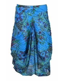 Dlouhá tyrkysová balonová sukně s kapsami, kombinace tisků, zip
