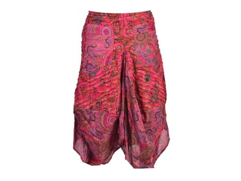 Dlouhá růžová balonová sukně s kapsami, kombinace tisků, zip