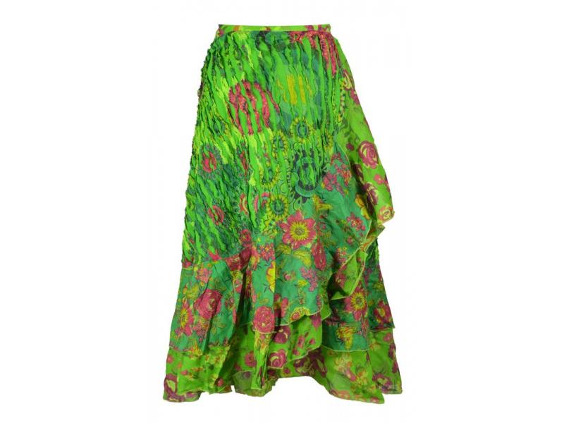 Dlouhá zelená zavinovací sukně, kombinace potisků, volány