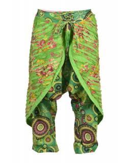 """Dlouhé zelené turecké kalhoty se sukní """"Patchwork design"""", elastický pas"""