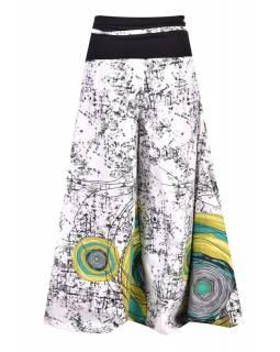 """Bílé zvonové kalhoty s vysokým pasem, """"Mandala design"""""""