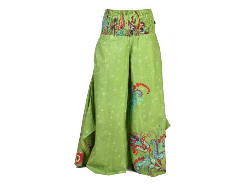 """Zelené zvonové kalhoty s vysokým pasem, """"Flower design"""", žabičkování"""