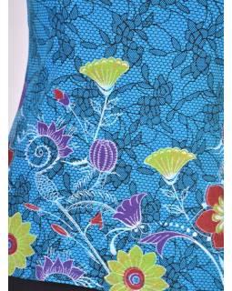 Tyrkysové tílko s potiskem, Lace design, barevné květiny