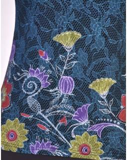 Černo-modré tílko s potiskem, Lace design, barevné květiny