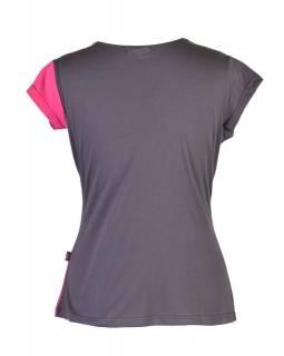 Šedo-růžové tričko s krátkým rukávem a potiskem mravenců, V výstřih