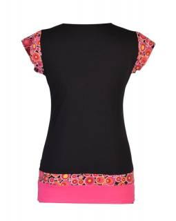Černo-růžové tričko s kapucí, kapsami a krátkým rukávem, Bubble print