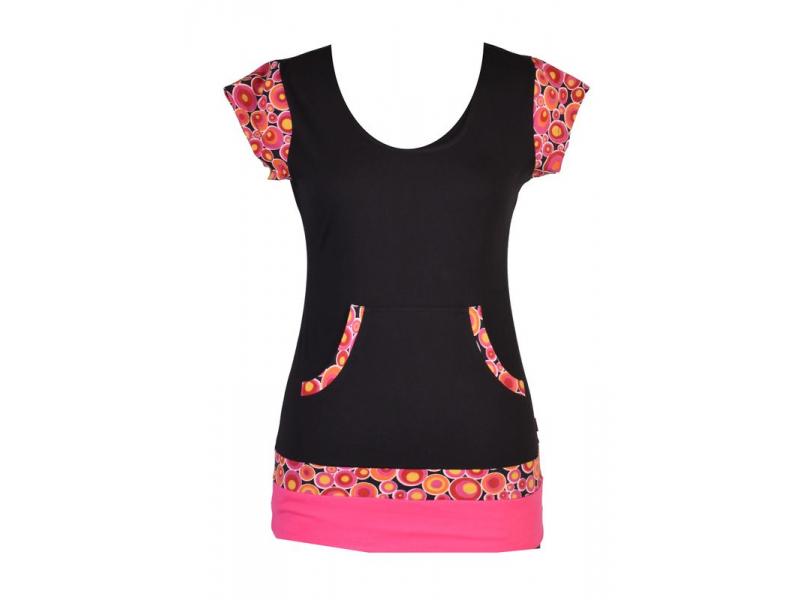 Černo-růžové tričko, kapsami a krátkým rukávem, Bubble print